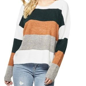 Women's Neutral Striped Colorblock Sweater Med/New